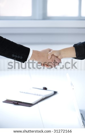 Handshake to seal a deal  - with bright office in the background