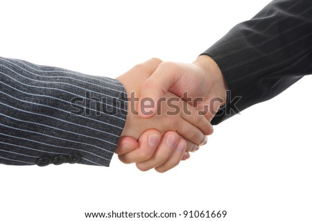 Handshake two business partners. Isolated on white background - stock photo