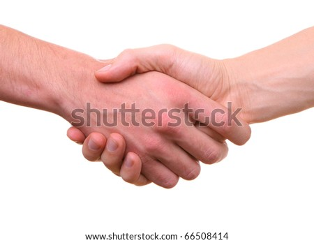 handshake two male hands shaking isolated on white