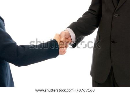 Handshake unrecognizable business man and woman isolated on white background