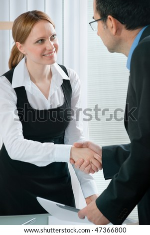 handshake while job interviewing - stock photo