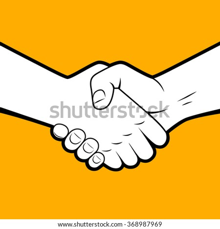 Handshake white silhouette with black contour on orange background. Business partnership and friendship symbol and metaphor - stock photo