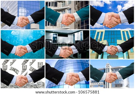 Handshake with modern skyscrapers as background. collection - stock photo