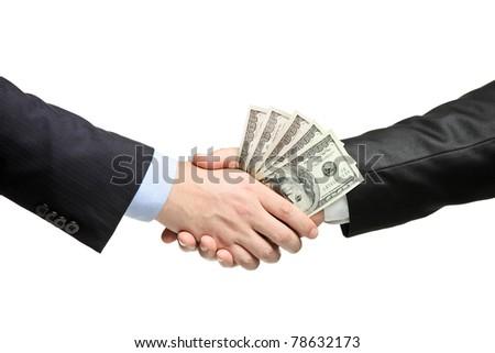 Handshake with money isolated on white background - stock photo