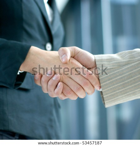 Handshake (woman and man) - stock photo
