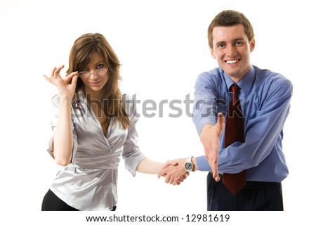 Handshake. Young business man offers hand shake and smiling. Isolated over white