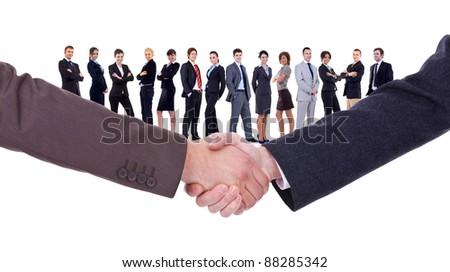 handshakeof two businessmen  isolated on business background - stock photo