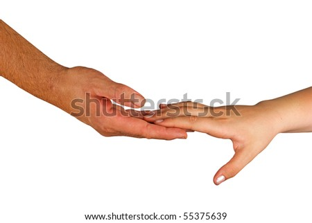 Handshaking man and woman