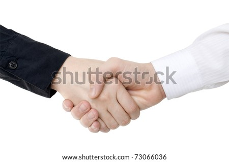handshaking of two persons in shirt isolated on white