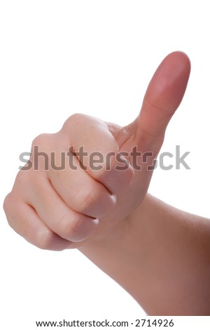 Handsign - not really bad, but not really good. Isolated on white - stock photo