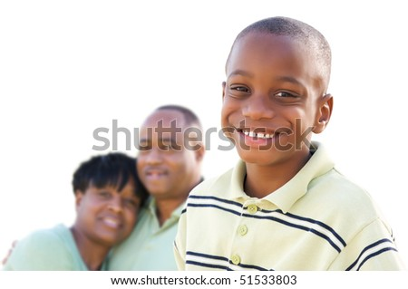 Handsome African American Boy with Parents Isolated on a White Background. - stock photo