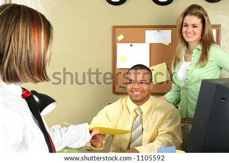 Handsome African American business man shaking hands with job applicant.