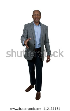 Handsome African American businessman shaking hands