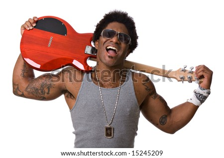 Handsome African-American male rock star with an electric guitar