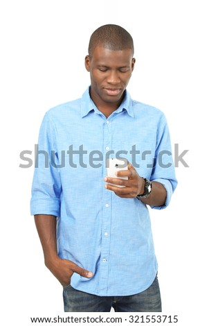 Handsome African American man holding mobile phone isolated on white - stock photo