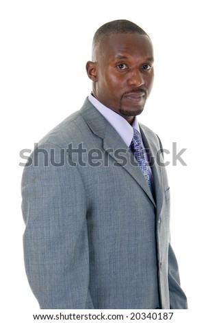Handsome African American man in a gray business suit. - stock photo