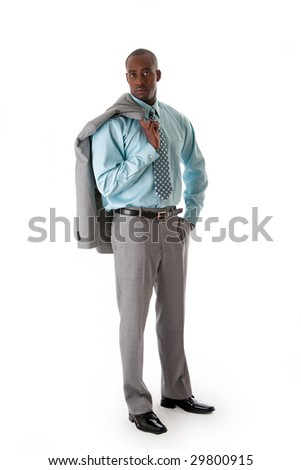 Handsome African American man in gray suit with smile standing with hand in pocket and blazer over shoulder, isolated - stock photo
