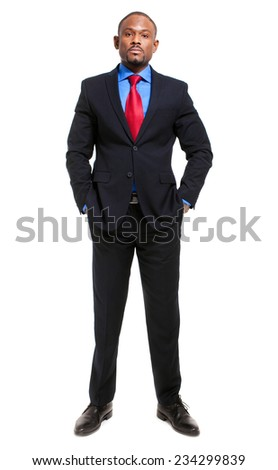 Handsome african businessman full length portrait  - stock photo