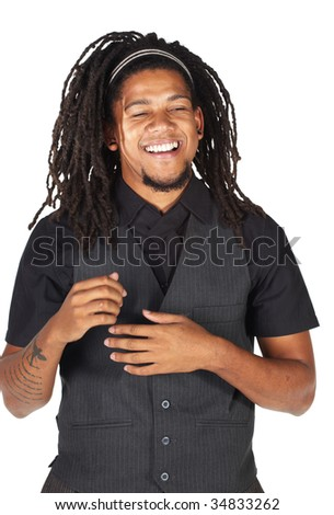 Handsome African businessman with long hair in black informal suit on white background.