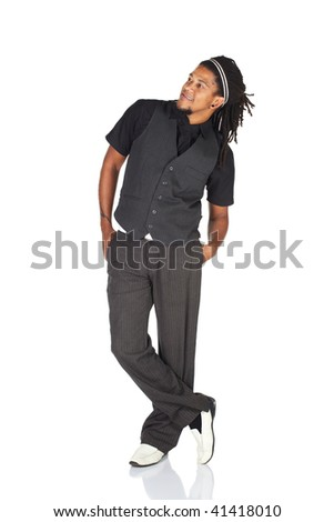 Handsome African businessman with long hair in black informal suit on white background. NOT ISOLATED