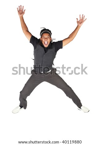 Handsome African businessman with long hair in black suit jumping and screaming on white background. NOT ISOLATED
