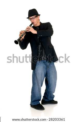 Handsome alternative dressed music performer, clarinet player.  Studio, white background
