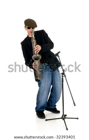 Handsome alternative dressed music performer, saxophone player.  Studio, white background