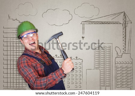 Handsome and crazy construction worker specialist (architect) wrecking with a hammer on building operation drawn background - stock photo