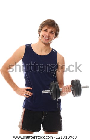 Handsome and sporty guy lifting dumbbell over a white background - stock photo