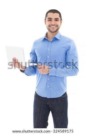 handsome arabic man with laptop isolated on white background - stock photo