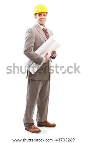 handsome architect. Isolated over white background - stock photo