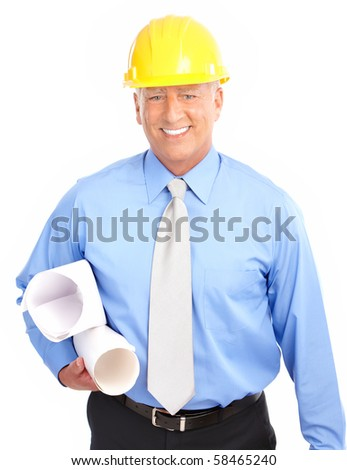 handsome architect. Isolated over white background - stock photo