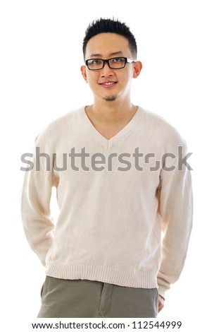 Handsome Asian male standing over white background - stock photo