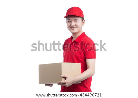 Handsome asian young delivery man portrait isolated on white - stock photo
