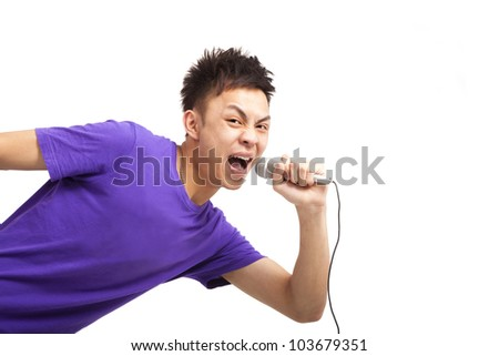 handsome asian young man are singing - stock photo
