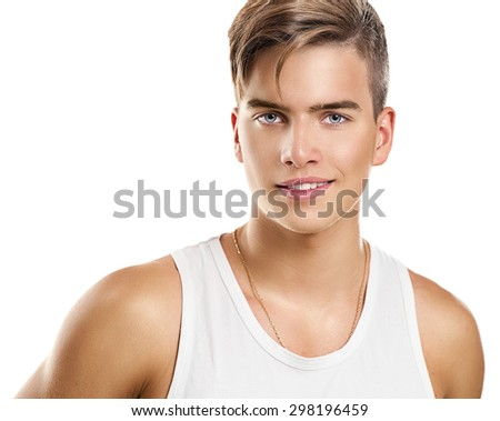 Handsome Athletic young man. Model guy portrait isolated on white background.  - stock photo