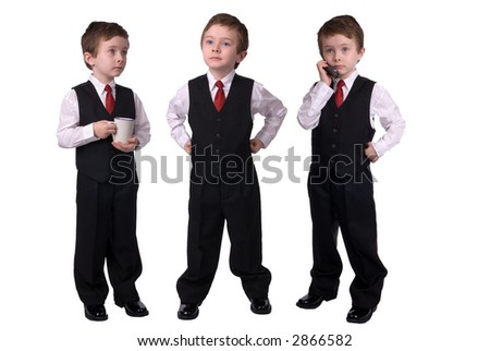 Handsome attractive young boys dressed in suits with a cell phone and coffee cup in hand on white background.