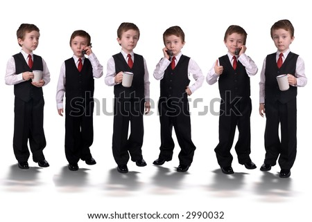 Handsome attractive young boys dressed in suits with a cell phones and coffee cups in hands led by a visionary isolated on white background.