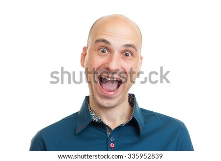 handsome bald man isolated on white background - stock photo