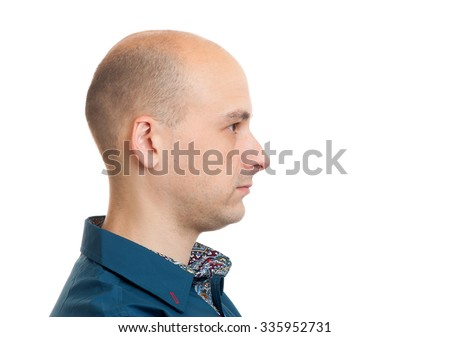 handsome bald man profile isolated on white background - stock photo