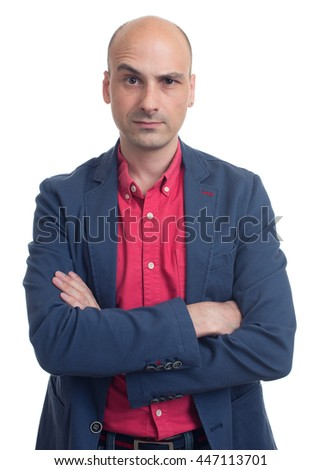 handsome bald man raised his eyebrow. Isolated on white background