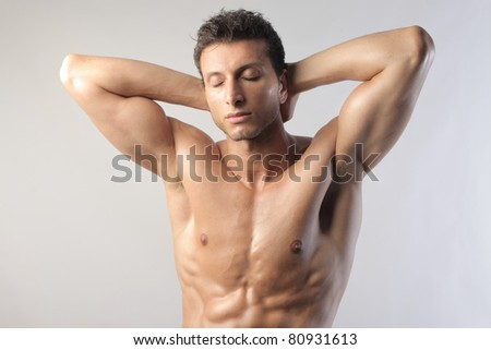 Handsome bare-chested man