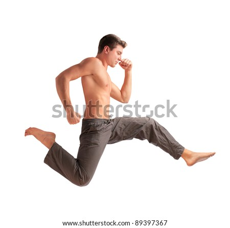 Handsome bare-chested man running