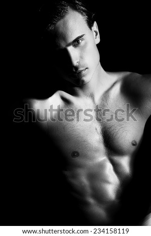 Handsome bare chested young man