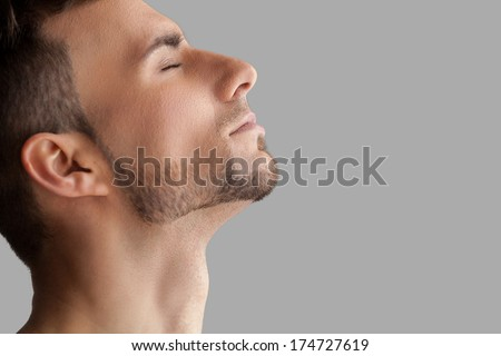 Handsome beard man. Side view of handsome young beard man keeping eyes closed while standing isolated on grey background - stock photo