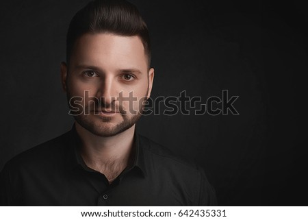 Handsome beautiful men with beard, serious face portrait. Space for text