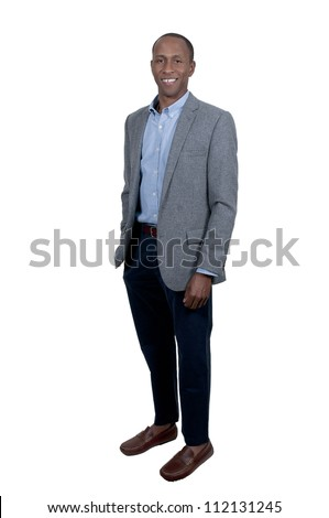 Handsome black African American man with a lovely smile - stock photo