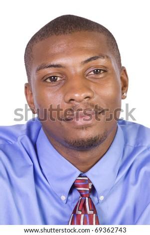 Handsome Black Businessman - Isolated background - stock photo