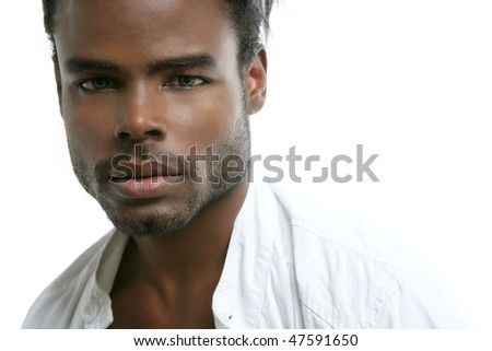 Handsome black fashion african young man with white shirt at studio - stock photo