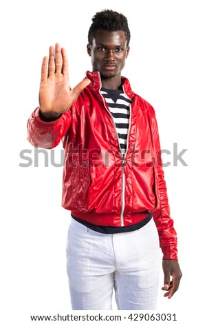Handsome black man making stop sign